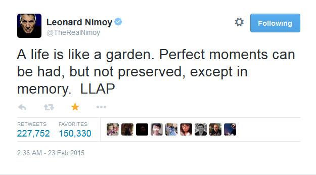 last tweet nimoy