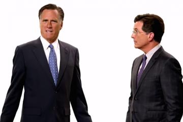 Mitt Romney and Stephen Colbert