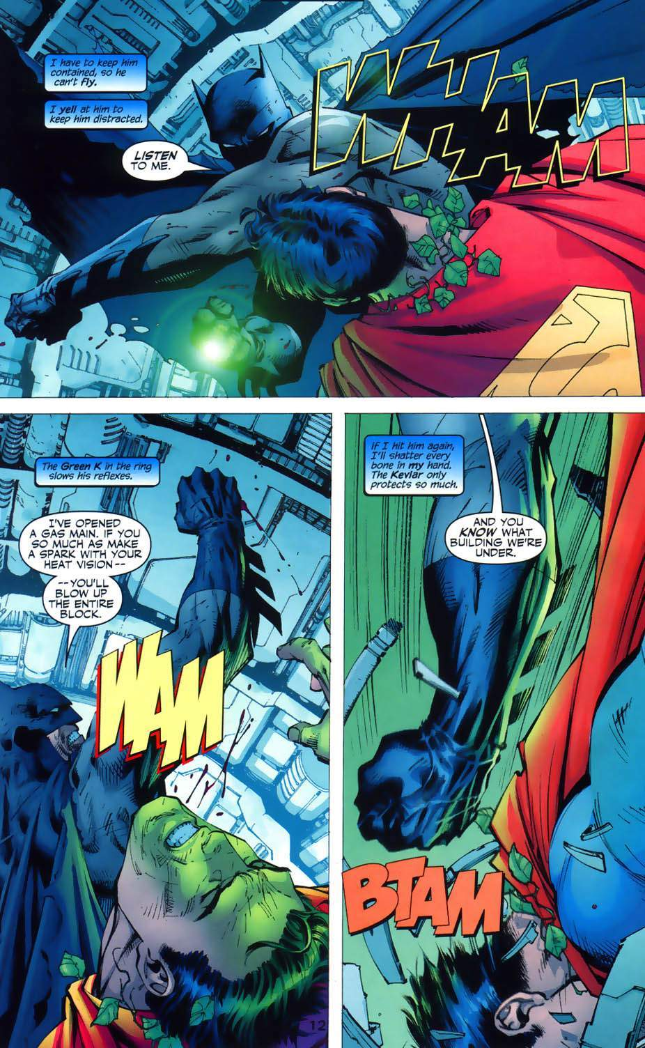 "Batman and Superman brawl in ""Hush."""