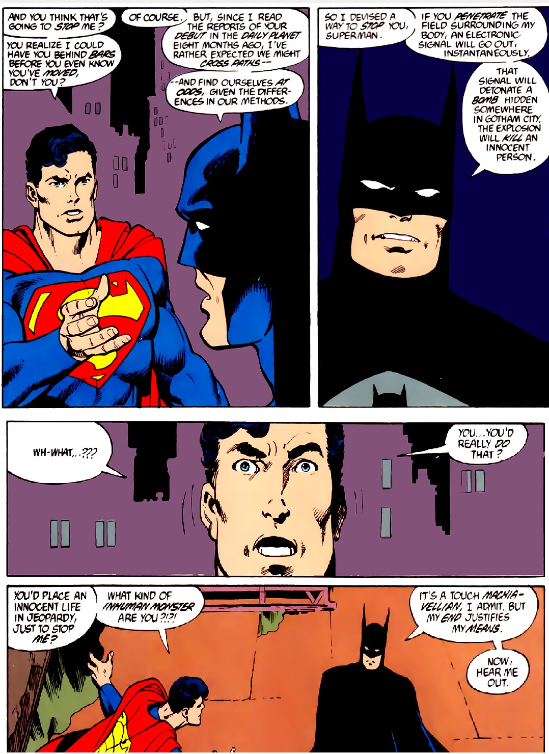 Batman and Superman meet.