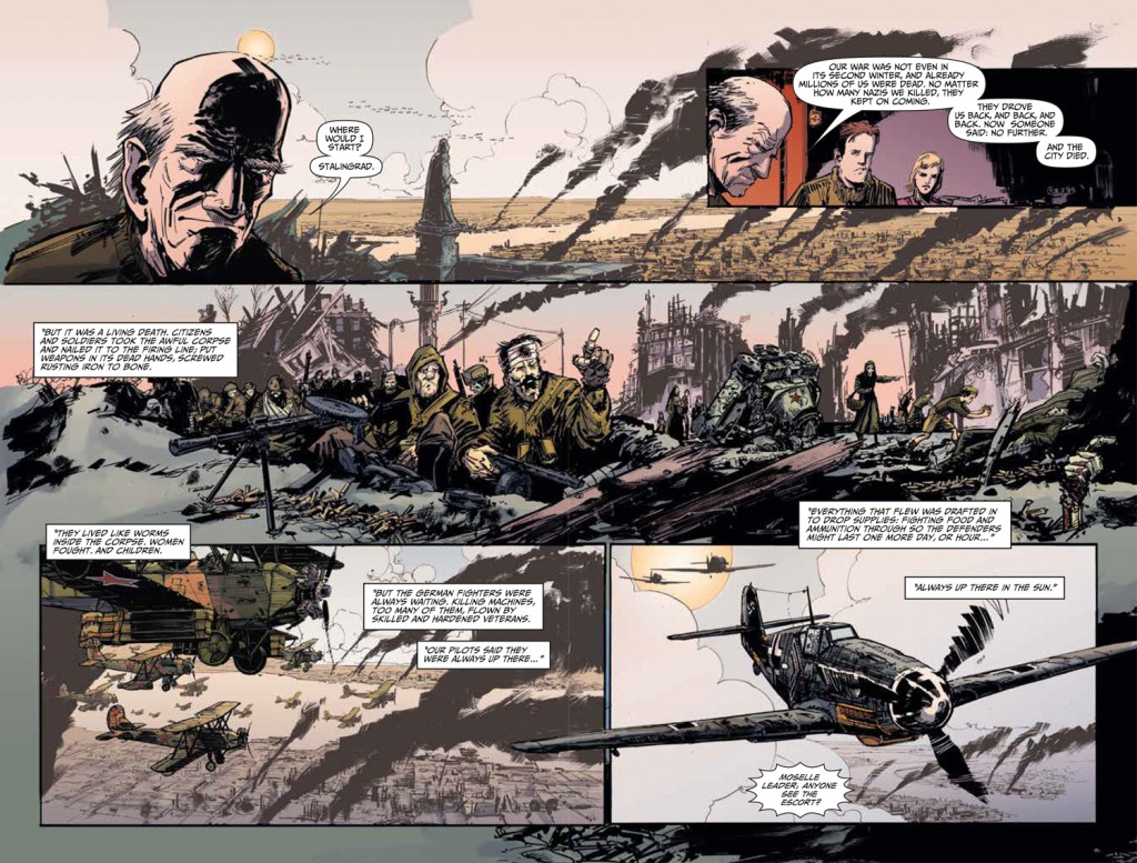 Two page spread from Johnny Red #1. Ennis (w), Burns (p), Wordie (c).