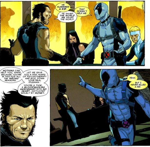 Wolverine and Deadpool have a philosophical difference of opinion.