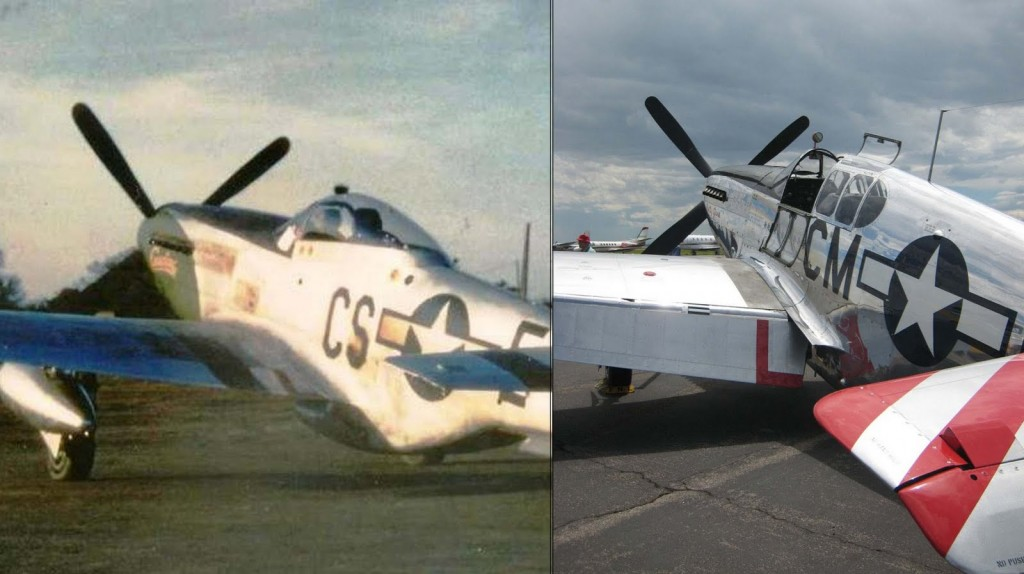"The difference between the bubble canopy of the familiar P-51D (left) and the ""birdcage"" canopy of the P-51C (right)."