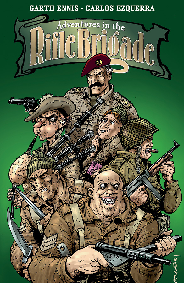 Solicited cover for trade reissue of Adventures in the Rifle Brigade. Art by Carlos Ezquerra.