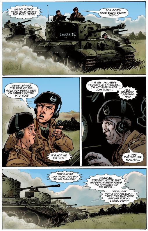 Promotional page from World of Tanks: Roll Out! Art by Carlos Ezquerra, script by Garth Ennis.