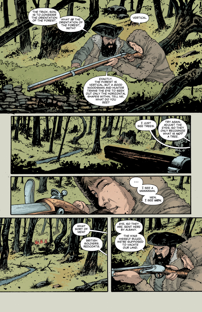 Rebels page 11. Script by Brian Wood, art by Andrea Mutti, colors by Jordie Bellaire.
