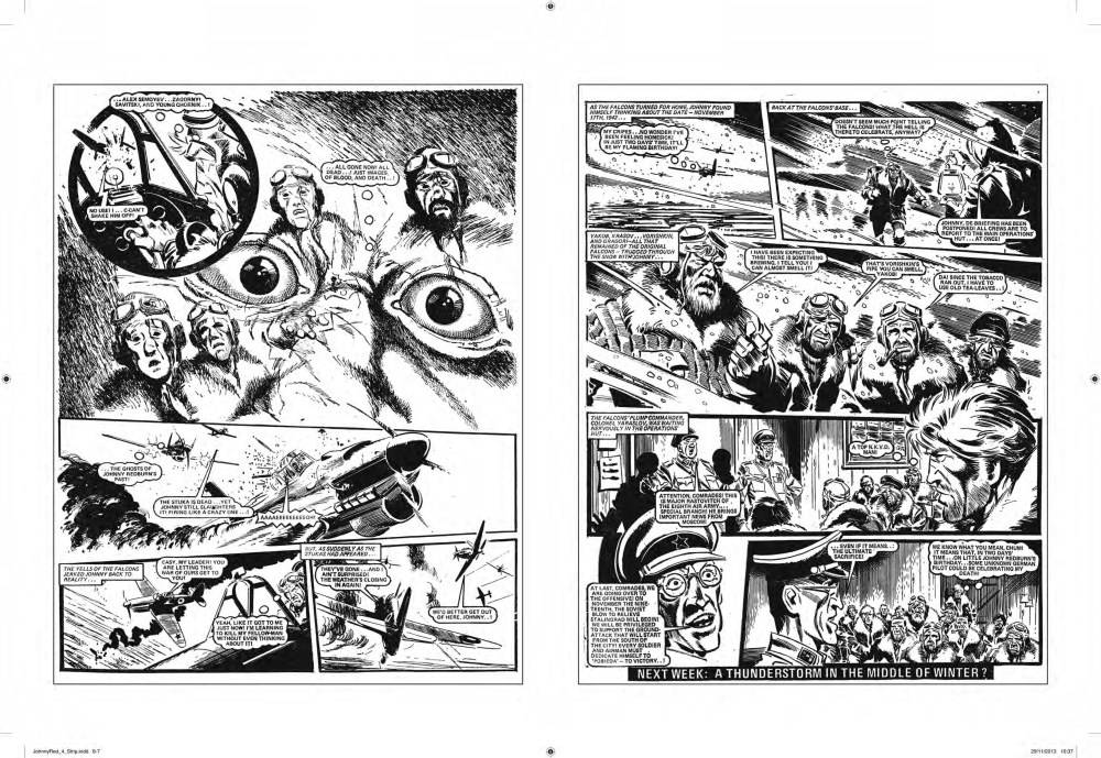 A good example of maximizing space and use of non-standard panels, a feature of almost all Battle features. Pages from Johnny red, Vol. 4, art by John Cooper.