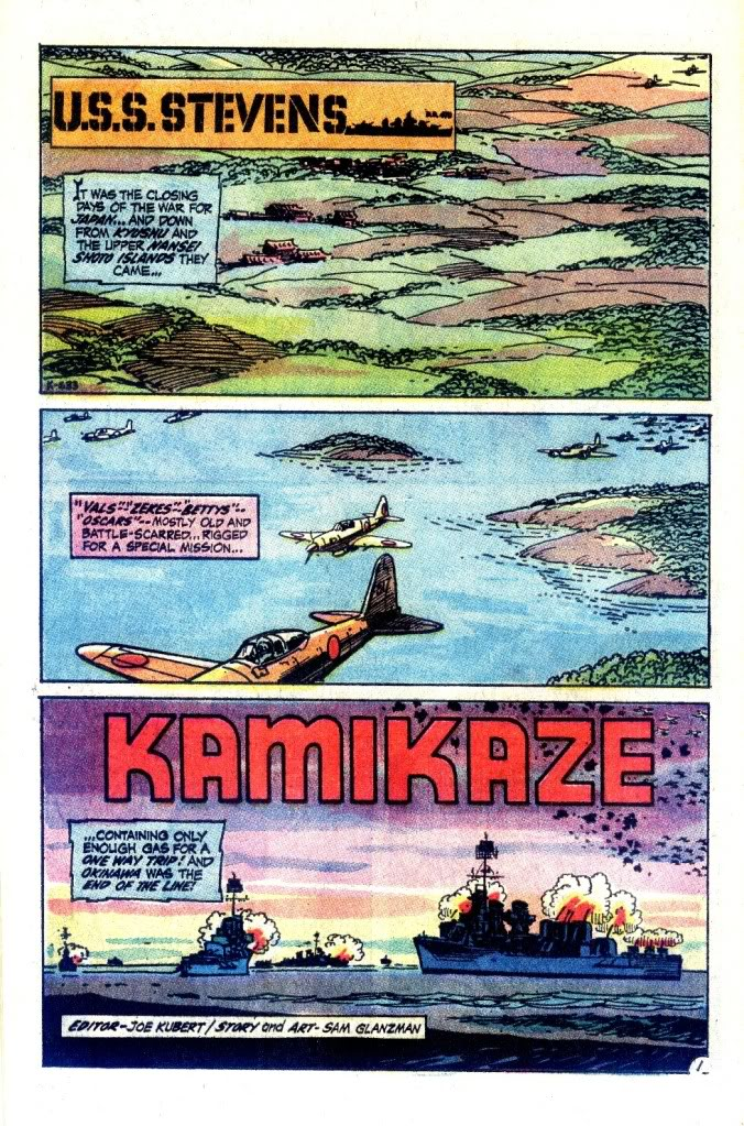 "Opening page of ""Kamakaze"" from Our Army at War 235 (1971), script and art by Sam Glanzman."
